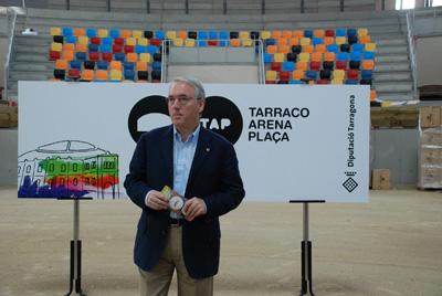 El president de la Diputació, Josep Poblet, durant la presentació als mitjans