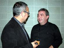 El reelegit Jaume Pros, rebent les salutacions del secretari general Joan Coscubiela