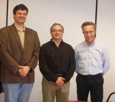 D'esquerra a dreta, el Director General i el president de la Fundació, i el director de TINET