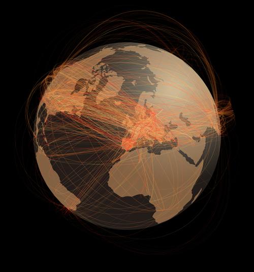 La imatge de la bola del món representa les connexions entre els usuaris