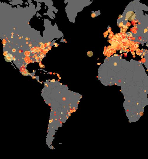 La imatge del mapa amb nodes representa els usuaris