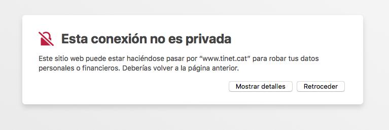 Missatge de connexió no segura a Safari MacOS
