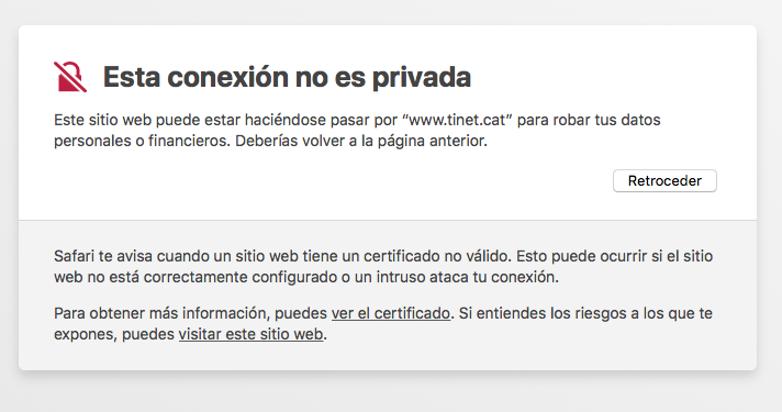Missatge ampliat de connexió no privada a Safari MacOS