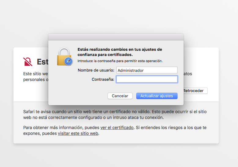 Confirmació per contrasenya per a visitar el lloc web amb Safari MacOS