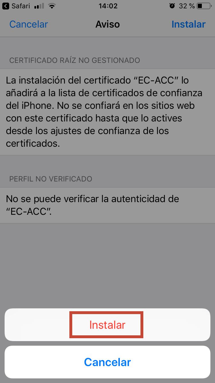 Cal confirmar la instal·lació del certificat