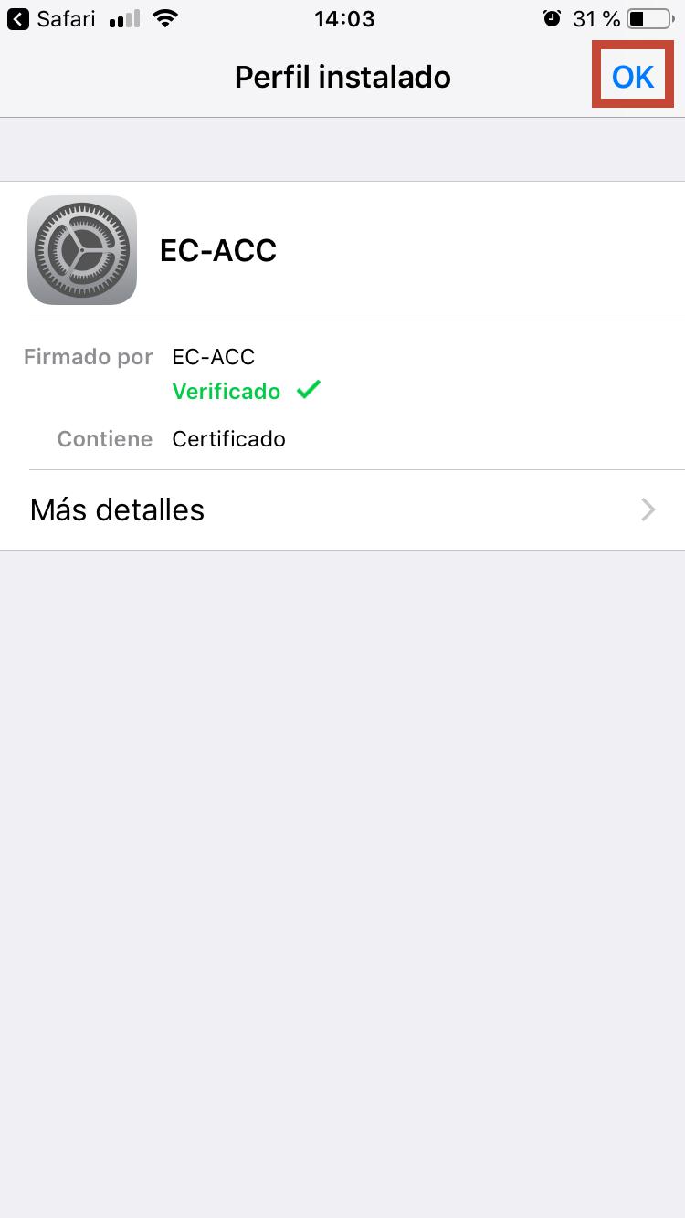 Una vegada verificat el certificat, cal prémer a Fet