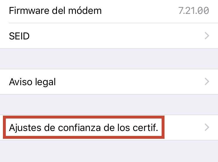 Parametres de confiança dels certificats