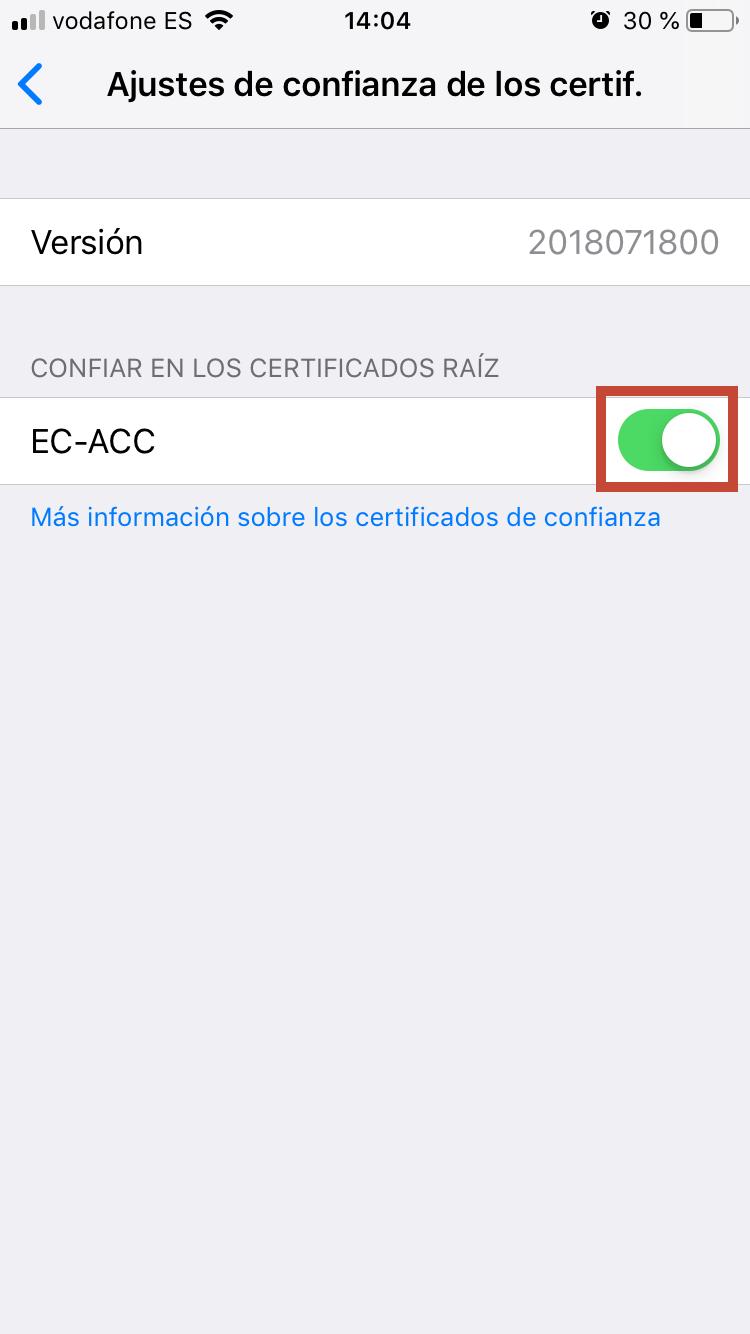 Cal activar el certificat arrel EC-ACC