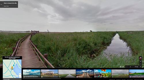 Passarel·la d'accés a un dels punts d'observació d'ocells a la Bassa de les Olles