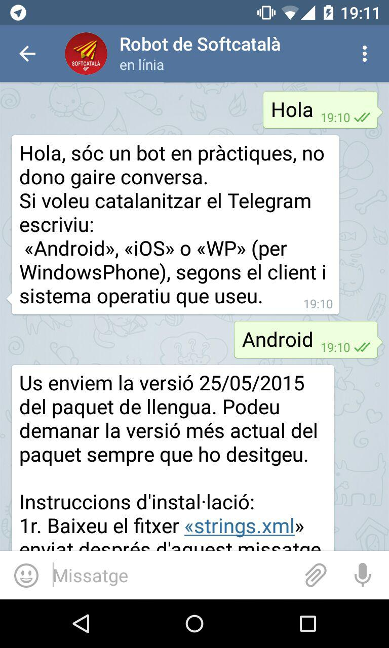 Robot de Softcatalà a Telegram