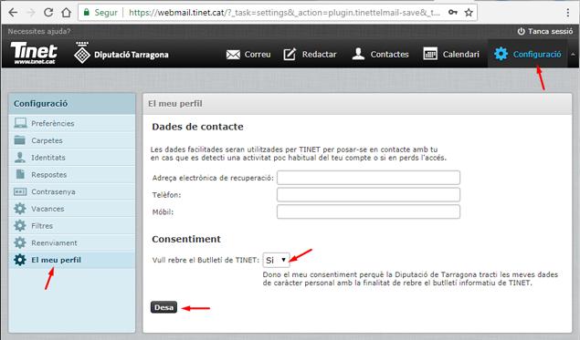 Secció 'El meu perfil' de la Configuració del Webmail