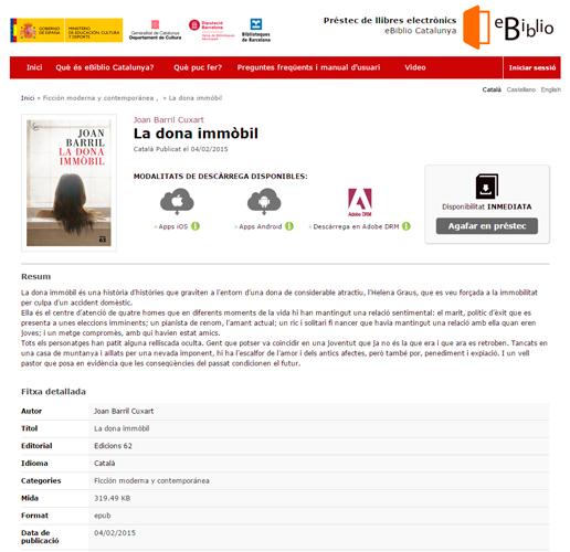 Web d'eBiblio Catalunya