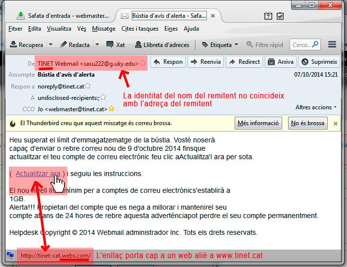 Exemple d'atac de phishing