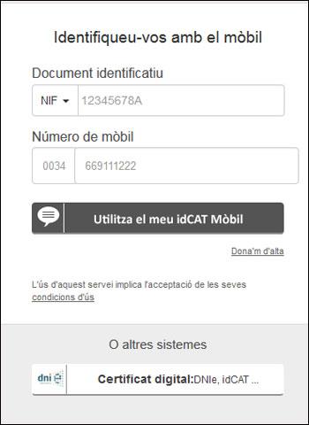 Exemple d'accés mitjançant idCAT Mòbil