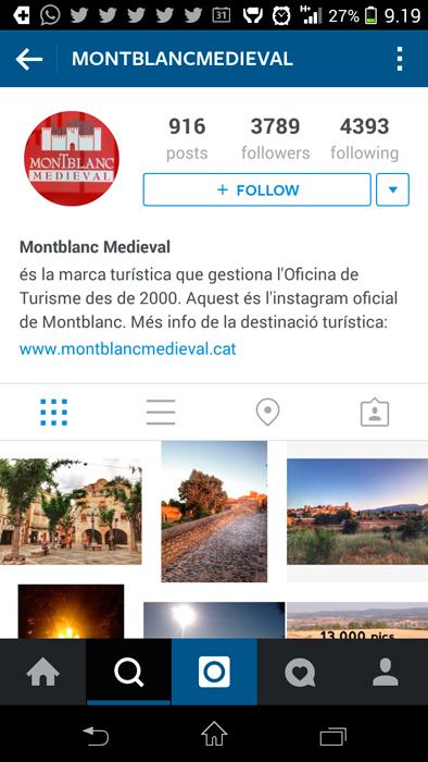 Perfil de Montblanc Medieval a Instagram
