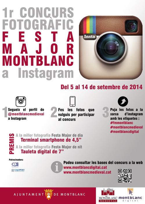 Cartell del 1r concurs d'Instagram de la Festa Major de Montblanc