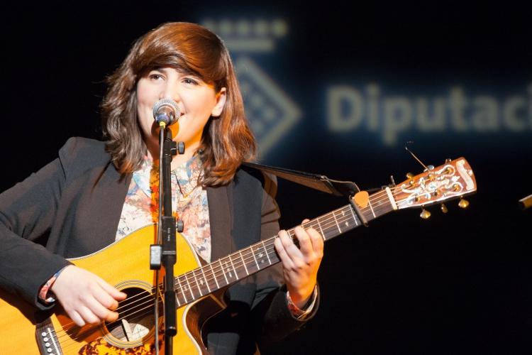 La cantant Joana Serrat durant l'acte de presentació del nou vídeo, el passat 17 de maig a l'Auditori Diputació
