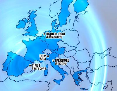 Mapa de les primeres xarxes ciutadanes europees (1995)