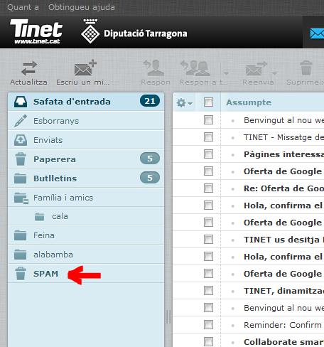 Accés a la gestió de l'Spam des del Webmail de TINET