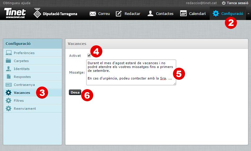 Configuració del missatge de vacances en el correu de TINET