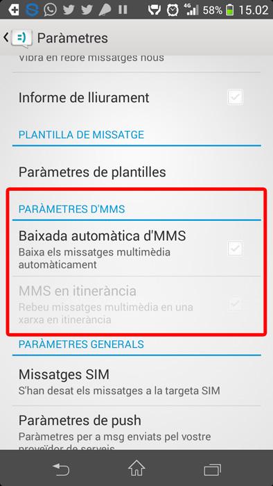 Configuració de missatges MMS