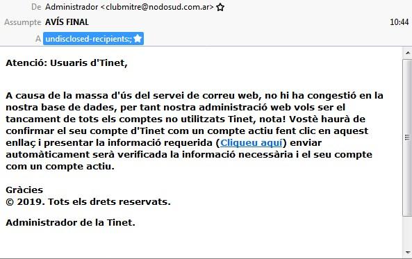 Missatge de phishing
