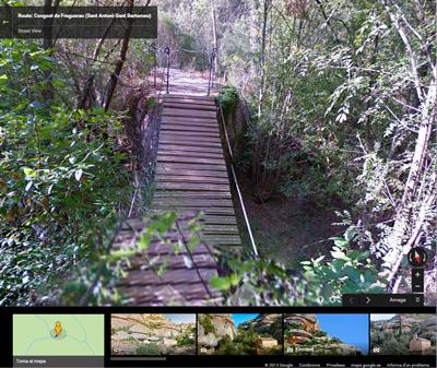 Pont penjant, de camí a Sant Bartomeu (Montsant)