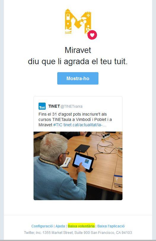 Exemple de notificació automàtica de Twitter amb l'opció de baixa al peu del missatge