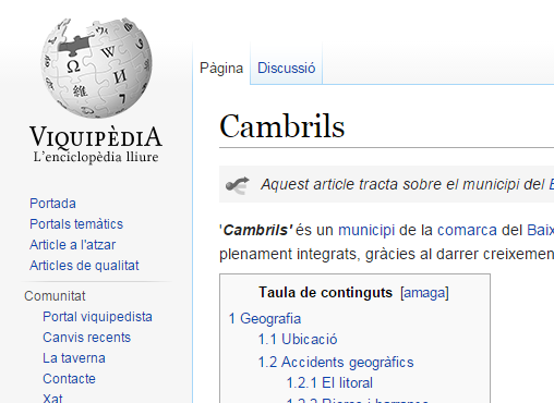Article de Cambrils a la Viquipèdia