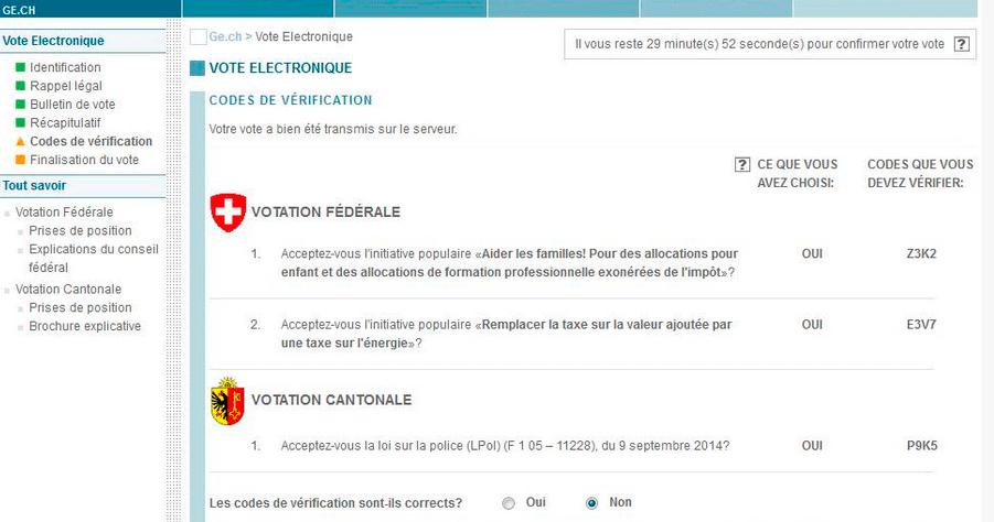 Exemple de votacion per Internet a la pàgina oficial de la consulta a Suïssa